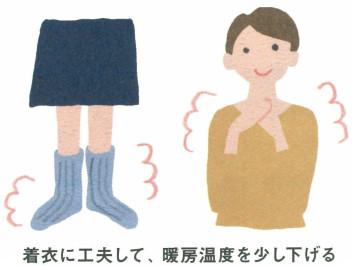 着衣に工夫して暖房の設定温度を下げる