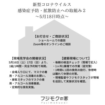 【新型コロナウイルスの感染症予防・拡散防止へのフジモクの家の取組み②/2020.5.18】