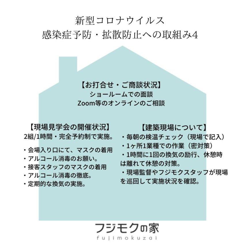 【新型コロナウイルスの感染症予防・拡散防止へのフジモクの家の取組み④】